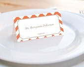 Printable Editable Place card PDF in Chevron 8 colors to choose from