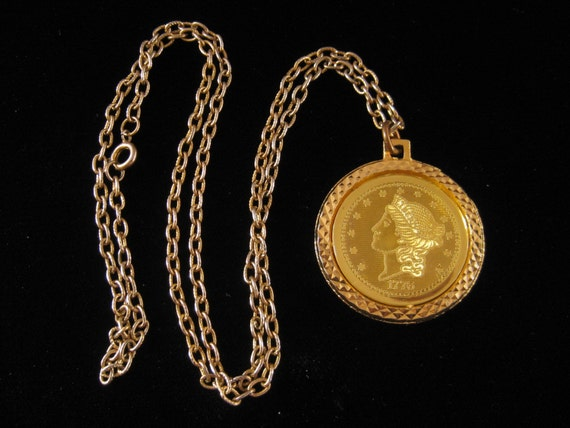Vintage 1776 Commemorative 20 Dollar Coin Necklace