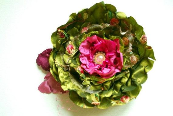 Olive green-fuchsia pink-Handmade taffeta flower-Corsage pin,brooch,comb,hair clip,flower for sash-Bride,bridesmaid,photo prop.
