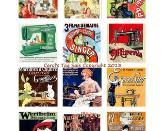 "2"" x 2"" Square Vintage Sewing Machine Ads Collage Sheet Printables Downloads Images  Digital Graphics 1x300 dpi JPEG Collage Sheet File"