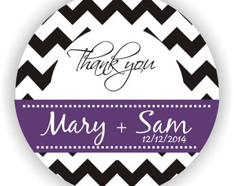 Chevron Design - Personalized circle stickers - Set of 5 sheets - Wedding - Monogram - Bridal Shower - Thank You - Favor Tag - Personalized