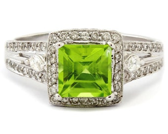 Princess cut peridot & diamonds antique style engagement ring PAR100