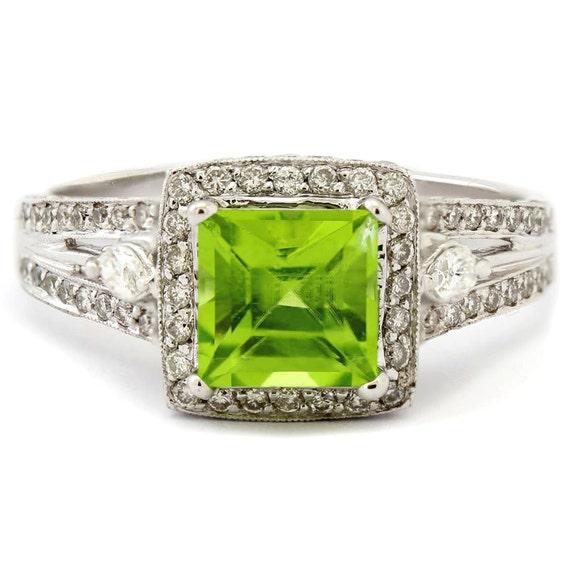 princess cut peridot diamonds antique style engagement ring