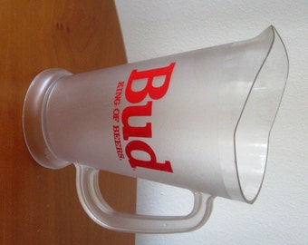 Vintage Budweiser Pitcher Beer Server King of Beers Frosted Plastic Bud Beer 1960s