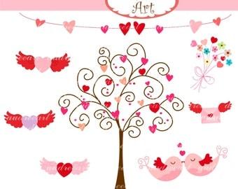 Valentine's day Digital clip art, hearts tree, kiss birds , love birds hearts ,  instant download clip art