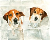 CUSTOM couple PET PORTRAIT  Original watercolor painting 8X10inch