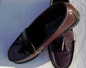 Vintage Tasseled Shoes, loafers, Etienne Aigner, Size 6 M, Dark Burgundy Oxblood Cordova, USA Made, Preppy, JunqueGypsy,