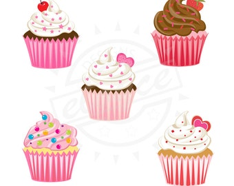 Cupcake Clipart Digital for scrapbooking, stationery, etc Instant download