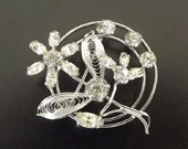 Vintage Rhinestone Brooch Sterling Silver Diamond Crystal Fine Jewelry Wedding Bridal Bride