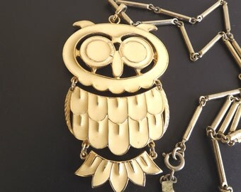 Sarah Coventry Vintage Owl Necklace Designer Signed Costume Fashion Jewelry Figural