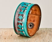 SALE Turquoise Jewelry Cuff Tooled Leather Handmade Vintage Bracelet OOAK - Gift For Mom
