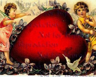 vdc5 Victorian Valentine's Day Heart Cherubs Fabric Blocks.