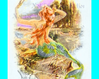s439 Vintage Victorian Postcard Mermaid Fabric Block for Quilting
