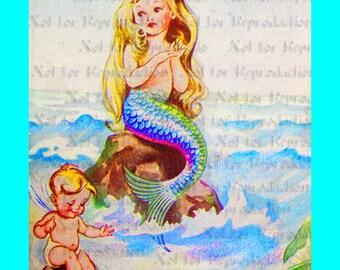 s496 Vintage The Little Mermaid Children Book Print Merbaby Fabric Block for Quilt 5 x 7.