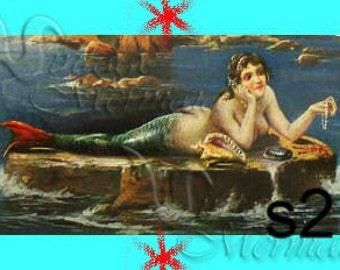 vm7 VINTAGE MERMAID POSTCARD Cotton Mermaid Fabric Block Mermaid Quilt Panel.