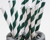40 Evergreen Stripe Paper Straws - Perfect for Parties - Favors--Free Editable DIY Tags PDF