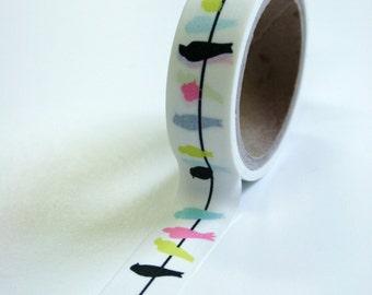 Washi Tape - 15mm - Multi Colored Birds on Wire - Paper Deco Tape No. 581