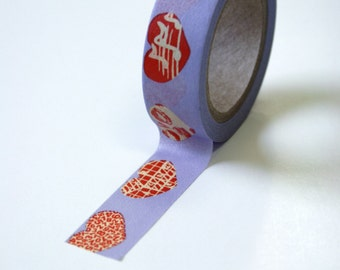 Washi Tape - 15mm - Coral and Cream Hearts on Lavender - Deco Paper Tape No. 605