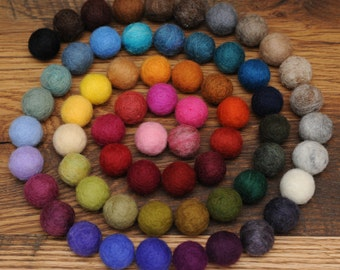 Felted Balls, You pick the Colors, Set of 50 Wool Balls 1 inch