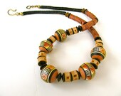 Earthy Tribal Necklace with Vintage Peruvian Beads