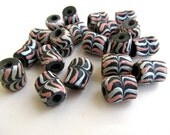 Sand Cast African Krobo Beads in Black, Pink, and White