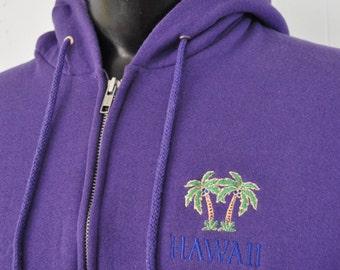 Embroidered Hawaii Sweatshirt Purple Soft n Comfy Zip Up Hoodie MEDIUM
