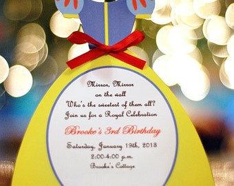 10 Princess Birthday Snow White Invitations  by Palm Beach Polkadots