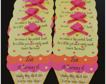10 ICE CREAM Birthday Invitations Invite by Palm Beach Polkadots