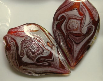 Large Glass Red Dichroic Leaf Pendant Focal 76mm by 51-52mm