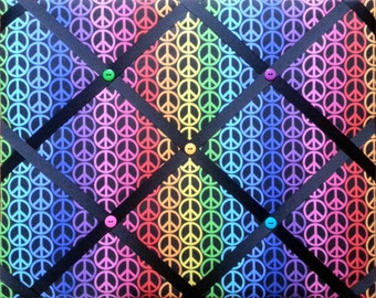 Rainbow Peace Sign Print French Memo Board  with Ribbon 11 x 14 -  Bulletin Board - Your choice of ribbon colors
