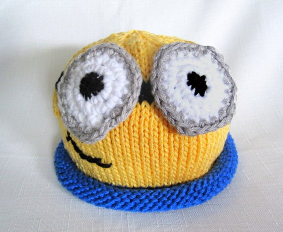 Knit Minion hat Despicable Me Hat great photo by BostonBeanies