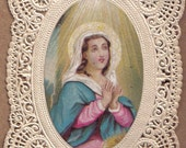 Charming Naive Lace Holy Card of Virgin Mary Antique