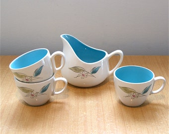 Mid Century Creamer with 3 Tea Cups  //  Vintage Salem Pottery