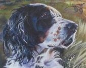 English Setter portrait dog art CANVAS print of LA Shepard painting 8x10