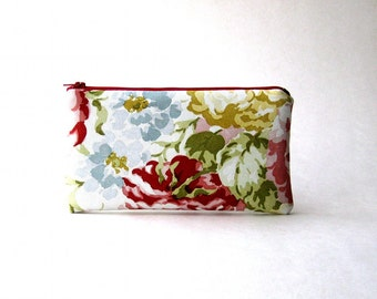 BLACK FRIDAY - Floral  Pouch, Padded Pouch, Clutch, Pencil case, Cosmetic pouch - The New Simple Pouch in floral green and red fabric