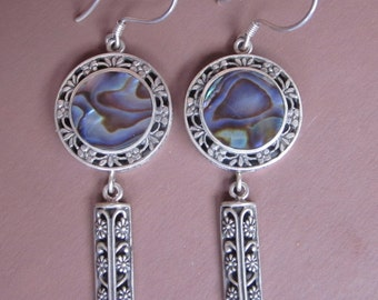 Elegant Silver Abalone Dangle Earrings / silver 925 / Balinese handmade jewelry