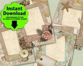 Vintage Scraps / Shabby Chic Pastels Add Your Own Text Or Image - Printable 2.5x3.5 Inch Hang Tags, INSTANT DOWNLOAD and Print Digital Sheet