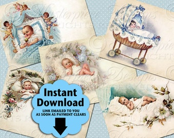 Baby Boys / Newborn / Baby Shower / Baby Gift - Printable ATC, ACEO, Hang Tags, Instant Download and Print Digital Sheet