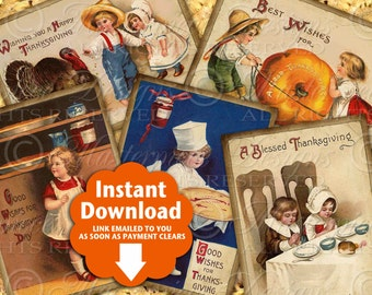 Happy Thanksgiving / Children / Turkeys / Pumpkins - Printable ATC, ACEO, Hang Tags, Instant Download and Print Digital Sheet