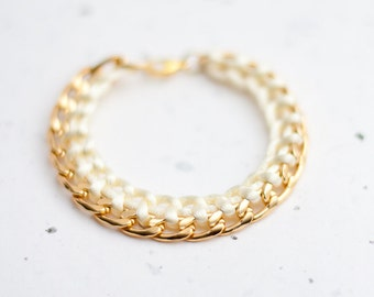 Gold Chain Braided Bracelet Buttercream Pastel Light yellow Ivory Modern minimalist jewelry Glam fashion