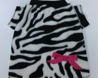 Black Zebra Pink Bow Dog Shirt Clothes Size XXXS through Large by Doogie Couture