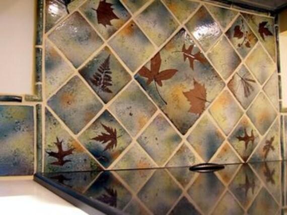 """4 """" Backsplash Ceramic Tile  Coaster Tile in """"Green Leaf"""" Glaze you pick the leaf"""