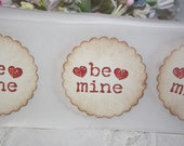 Stickers - Envelope Seals - Valentine's Day - Be Mine - Glittered Hearts