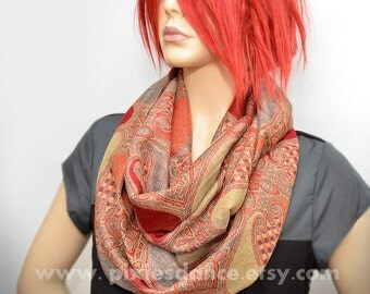 Pashmina Infinity scarf -  Red Orange Gold Paisley scarf