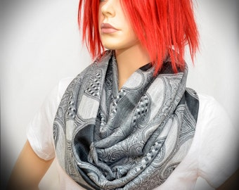 Silver Gray Paisley scarf - Infinity scarf