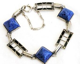 Sterling Art Deco Enamel Lapis Bracelet