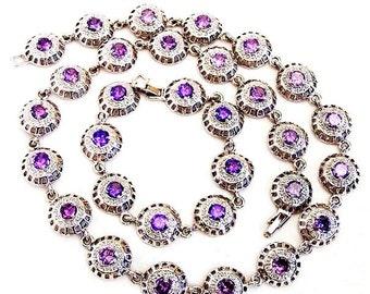 Tanzanite Color Purple Glass and Silver Tone Demi Parure