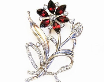 Red and Clear Flower Brooch c.1940