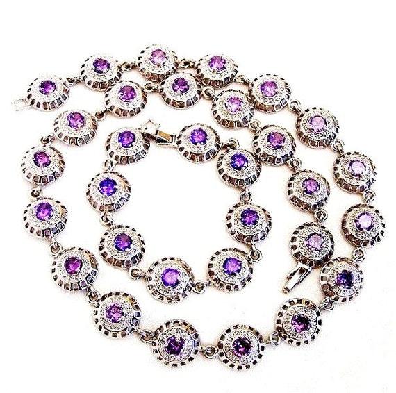 Lavender Tanzanite: Tanzanite Color Purple Glass And Silver Tone Demi Parure