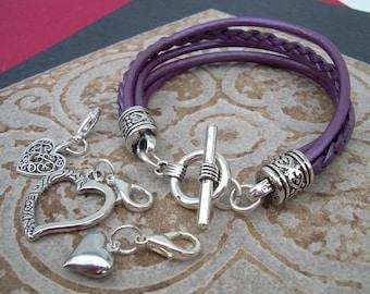 Heart Charm Bracelet, Womens Leather  Bracelet, Heart Charms,  Leather Bracelet, Womens Jewelry, Womens Bracelet, Purple,